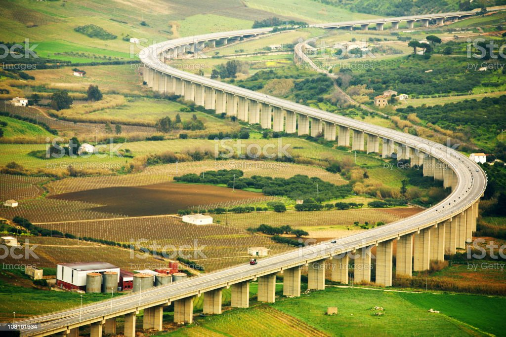 Highway in Country Side, Sicily. royalty-free stock photo