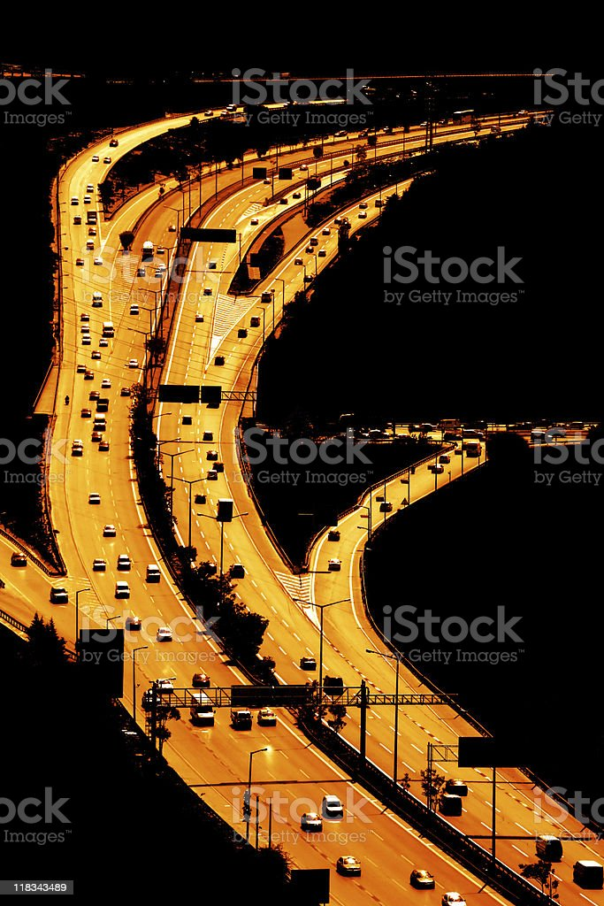highway in dark royalty-free stock photo