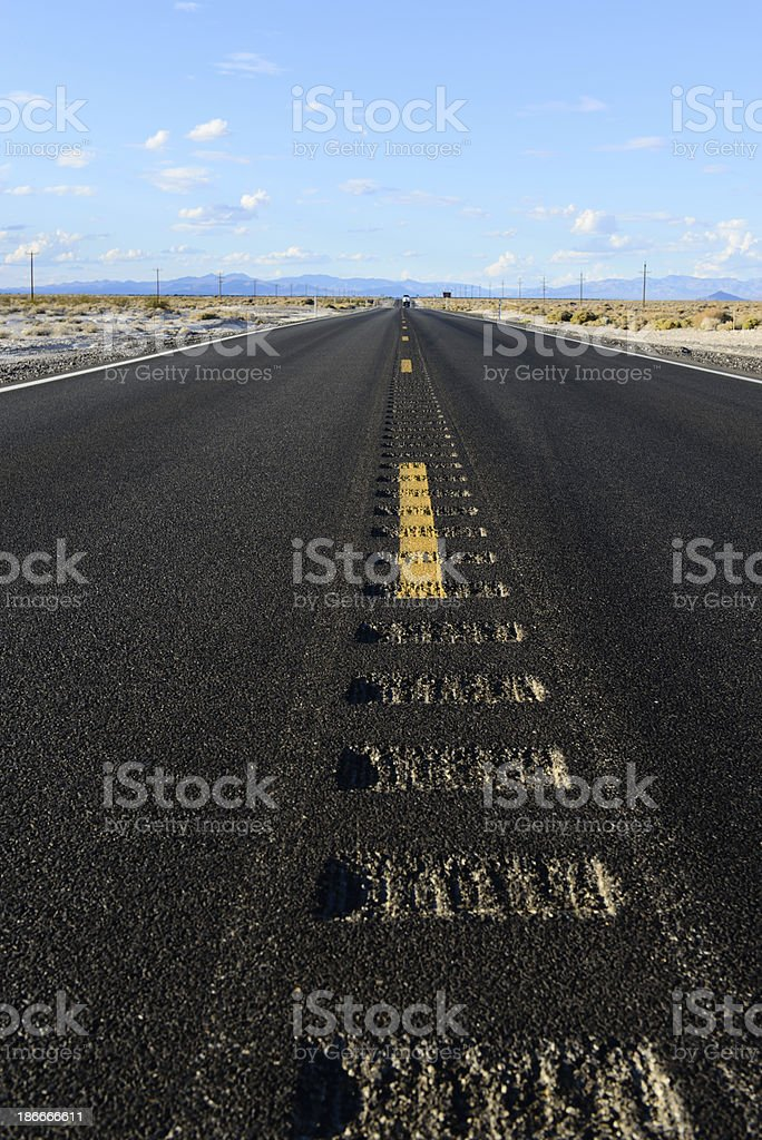 Highway in Death Valley - Verticle royalty-free stock photo