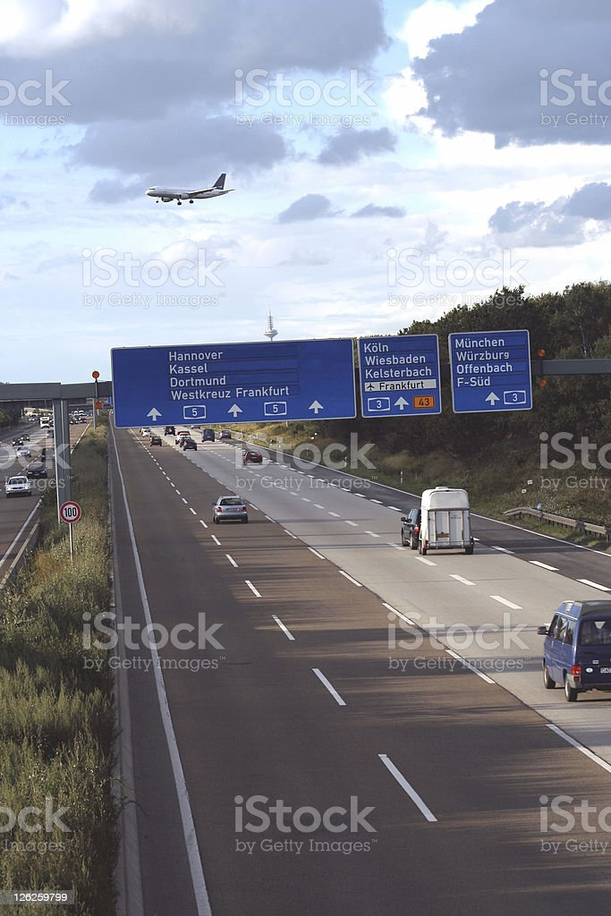 Highway (Autobahn A5) in Germany - Motion Blur stock photo