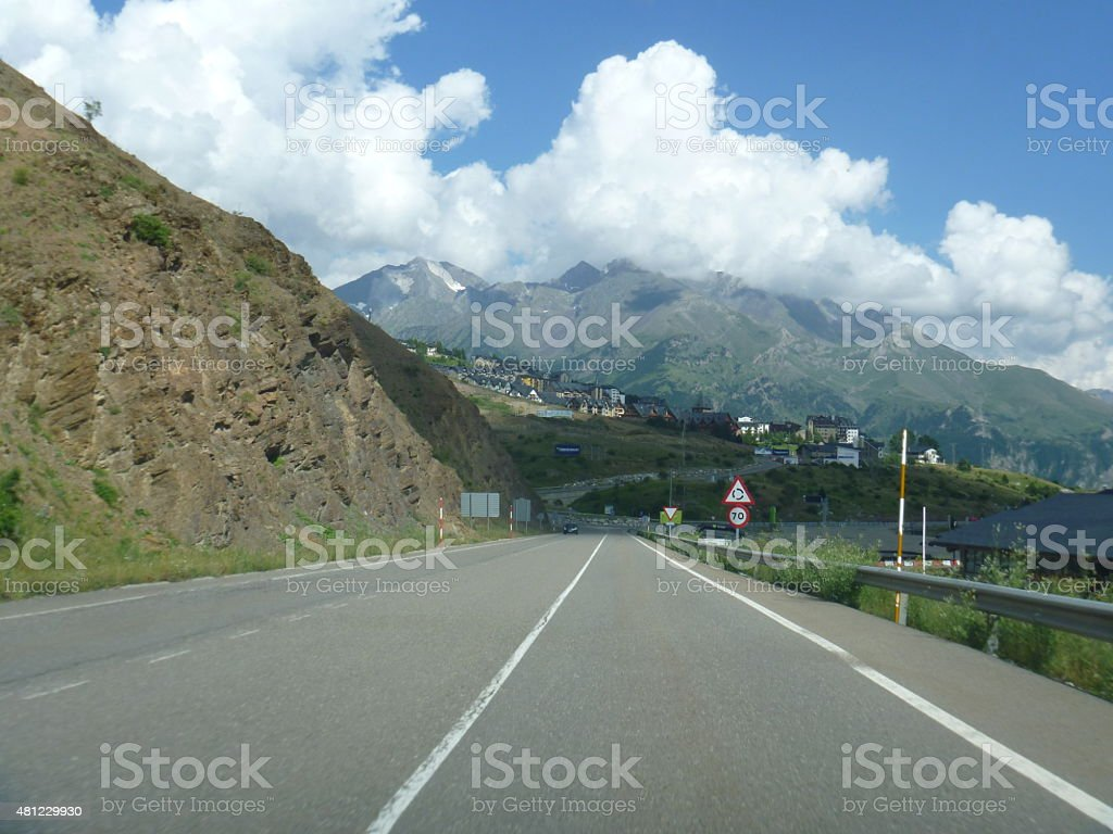 Highway in mountains bewteen France and Spain stock photo