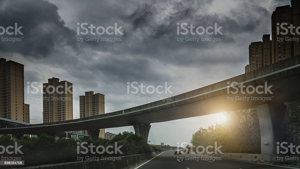 highway in sunset stock photo