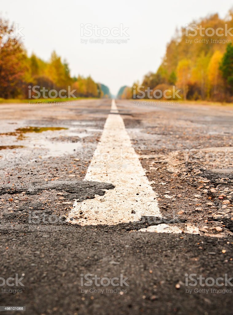 Highway in the autumn forest stock photo