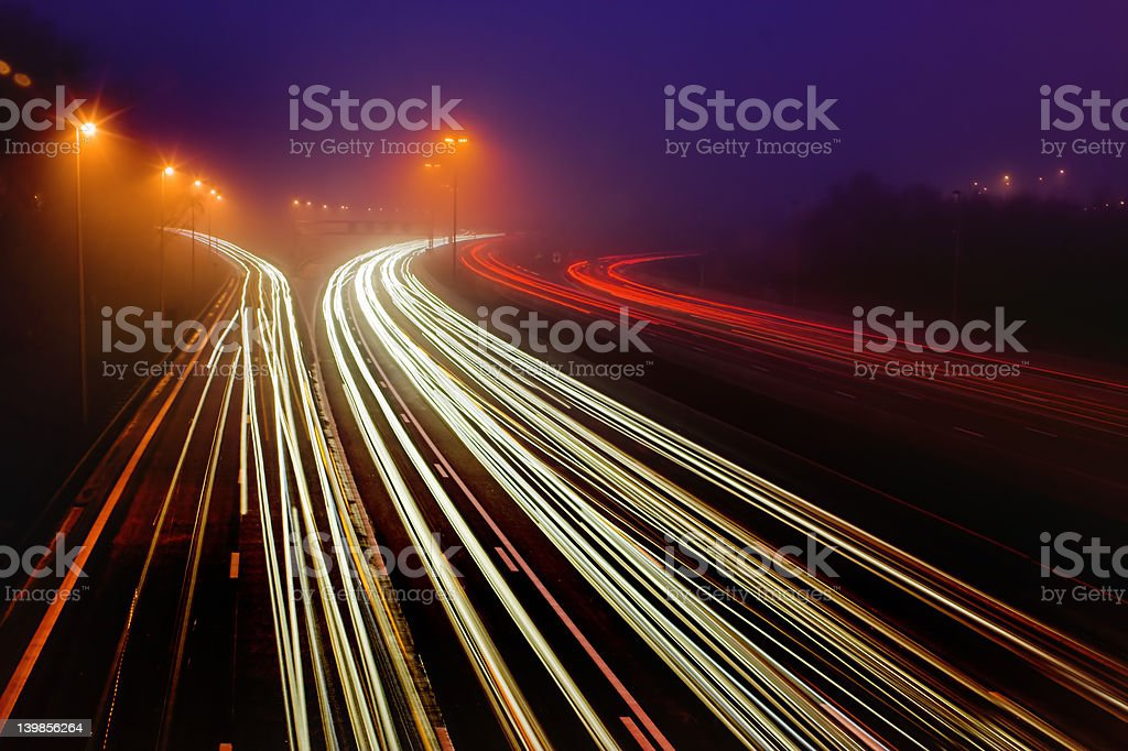 Highway in the dark royalty-free stock photo
