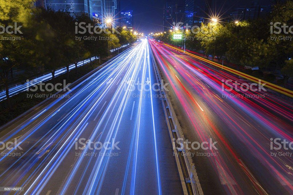 highway in the dark stock photo