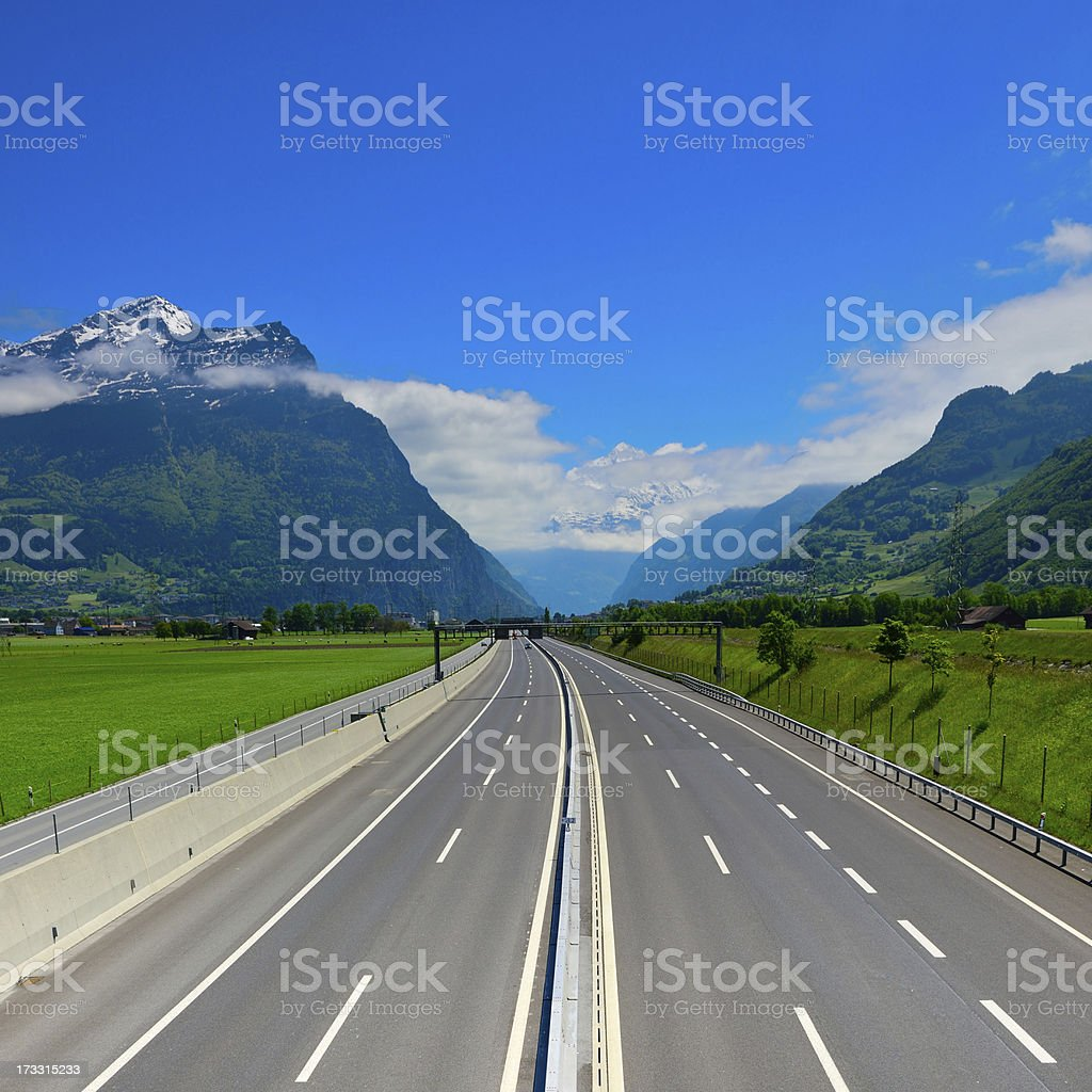 highway in the direction of Gotthard royalty-free stock photo