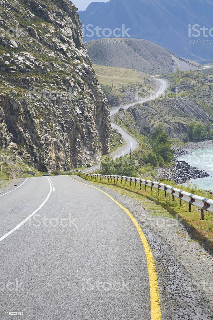 Highway in the mountains stock photo