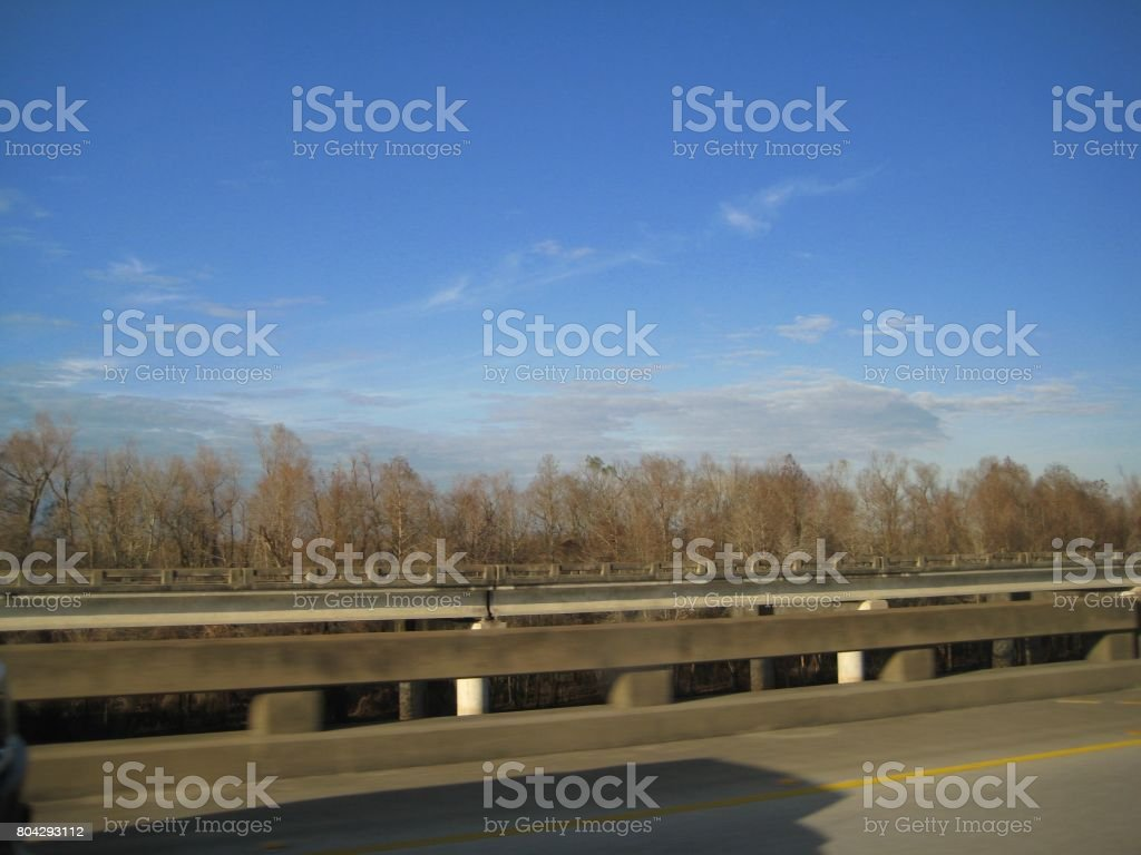 Highway in the swamps stock photo