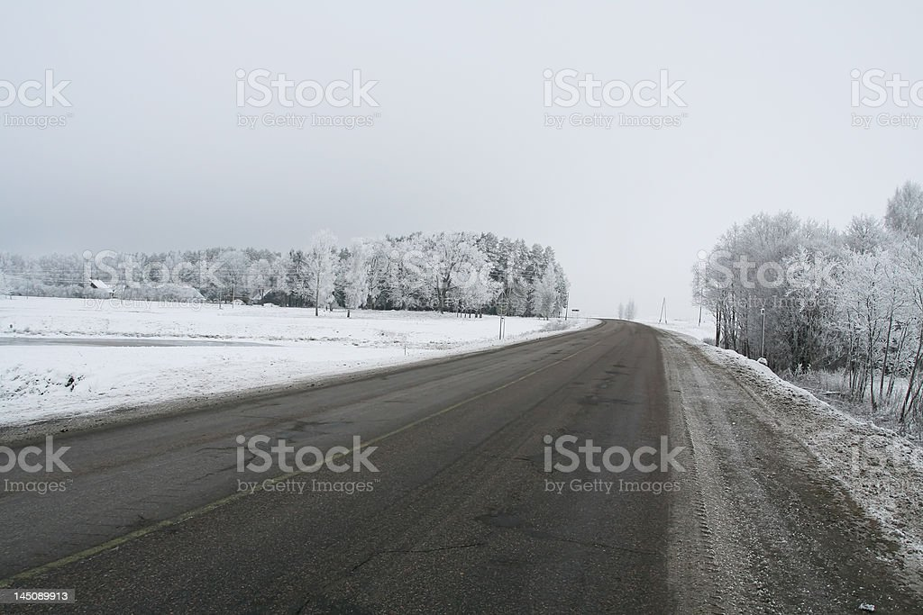 Highway in winter royalty-free stock photo