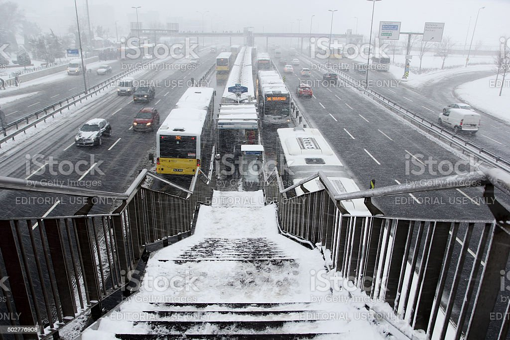 highway in winter stock photo