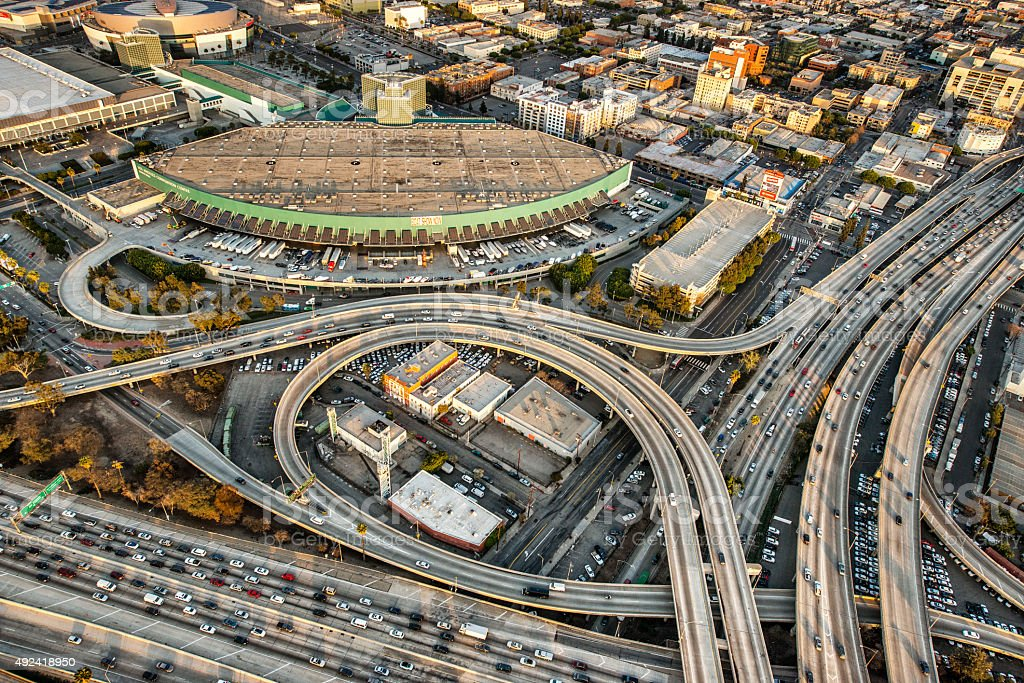 Highway interchange aerial view stock photo