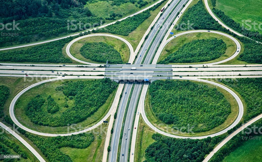 Highway Interchange, Aerial View stock photo