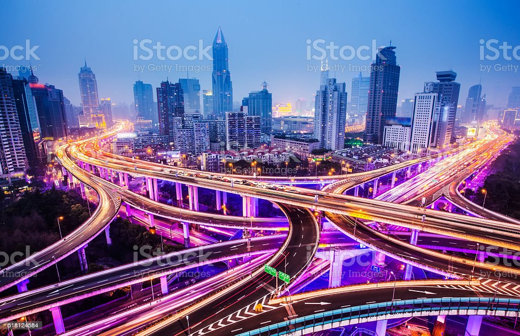 Highway interchange at night stock photo