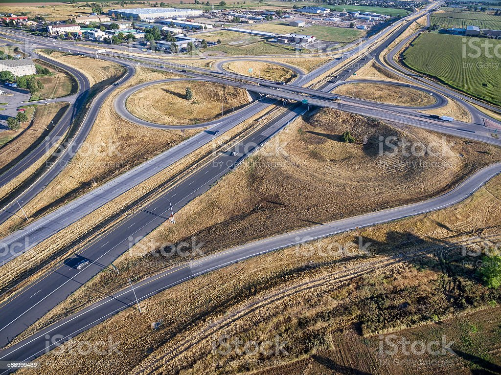 highway intersection aerial view stock photo