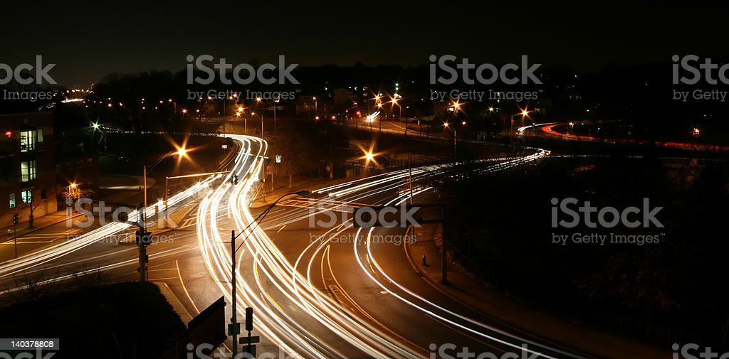 Highway intersection at Night royalty-free stock photo