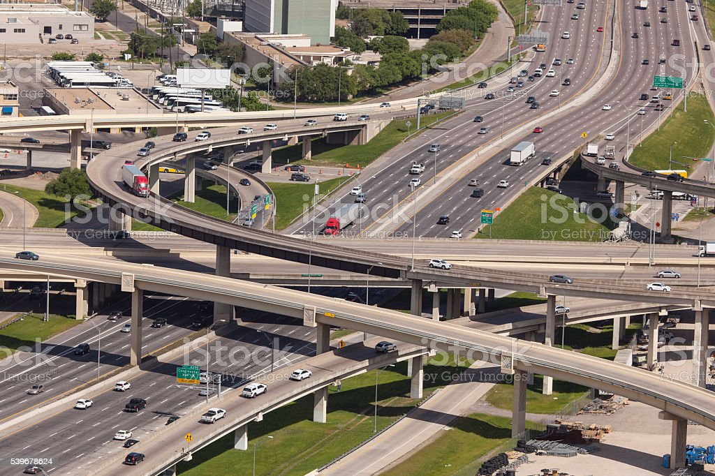 Highway Intersection in Dallas stock photo