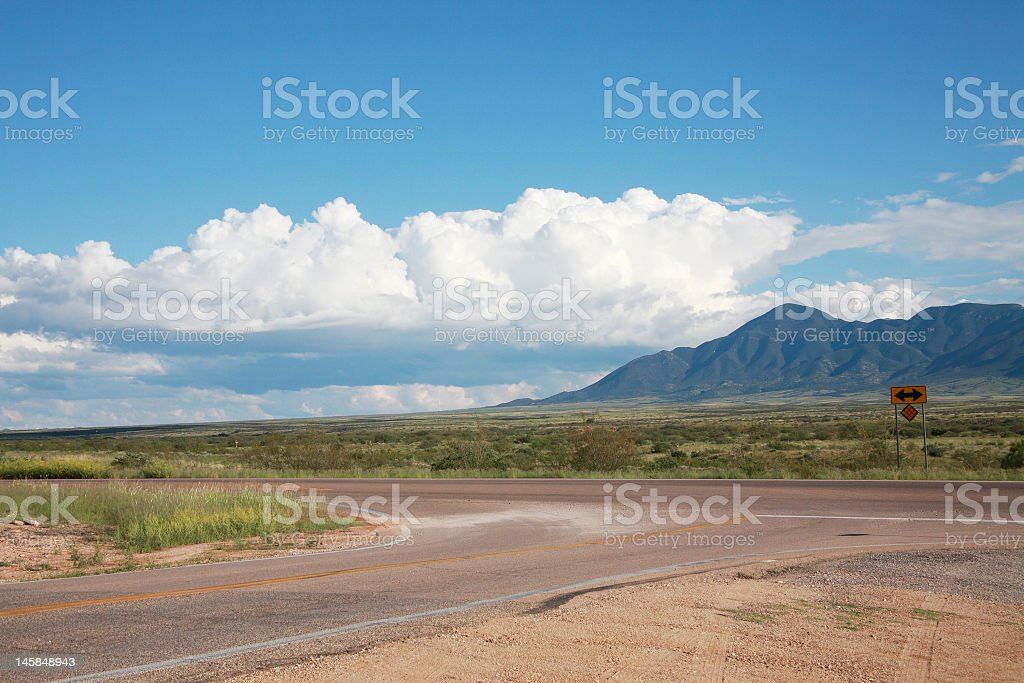 highway intersection in the desert stock photo