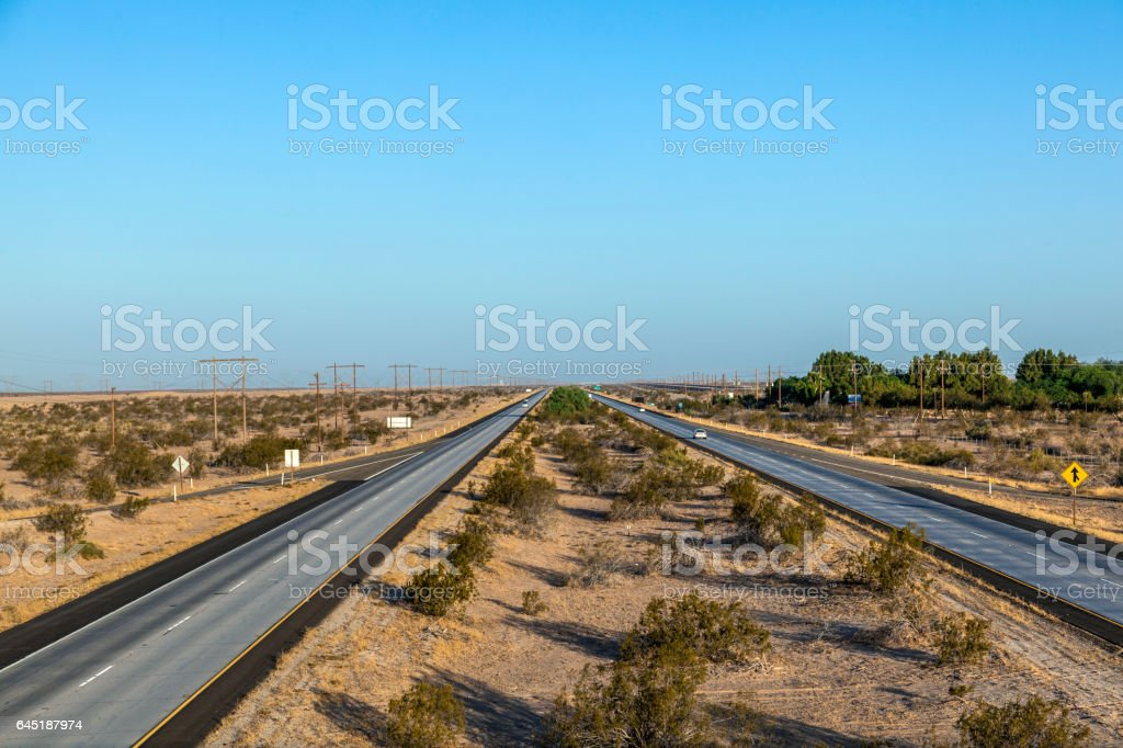 highway interstate 8 in the desert area stock photo