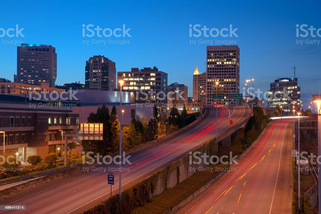 Highway Into Downtown Tacoma Washington City Skyline stock photo