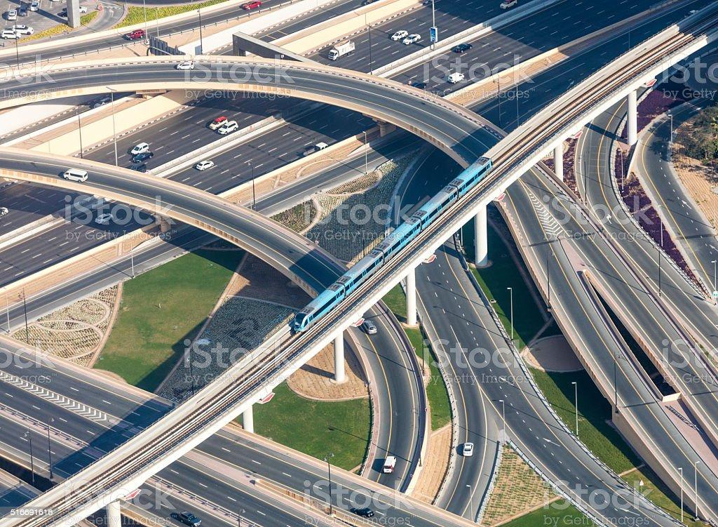 Highway junction viewed from Burj Khalifa, Dubai, UAE stock photo