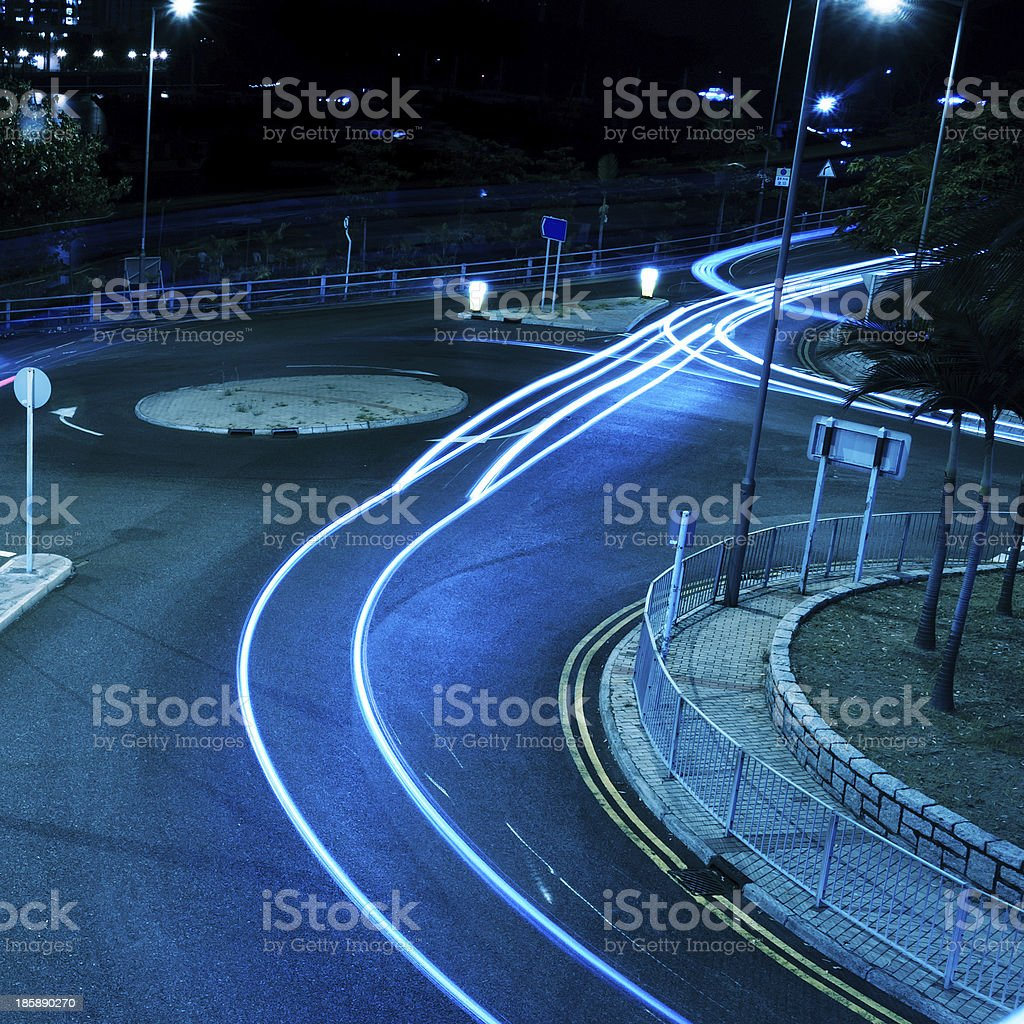Highway light trails royalty-free stock photo