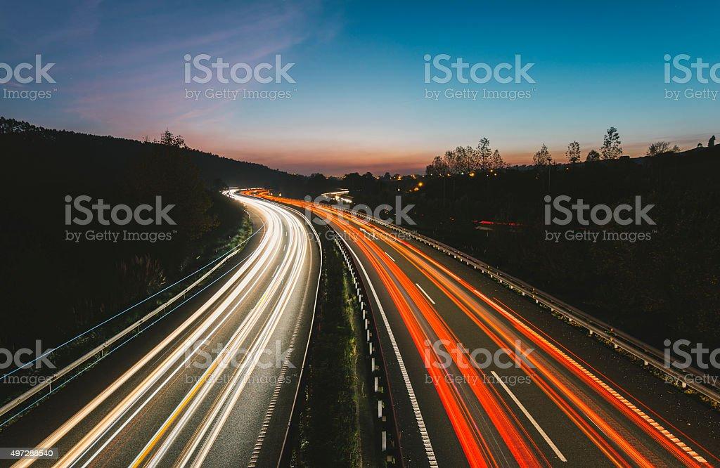 Highway lights stock photo