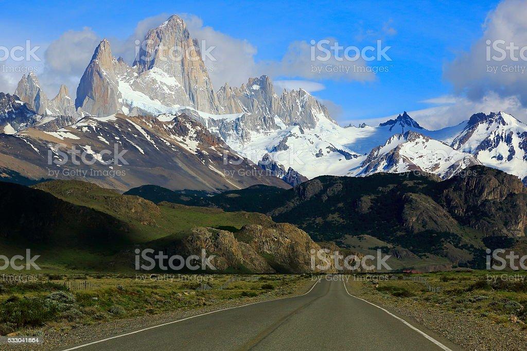 Highway mountain Road near Chalten, Patagonia Argentina, Los Glaciares stock photo
