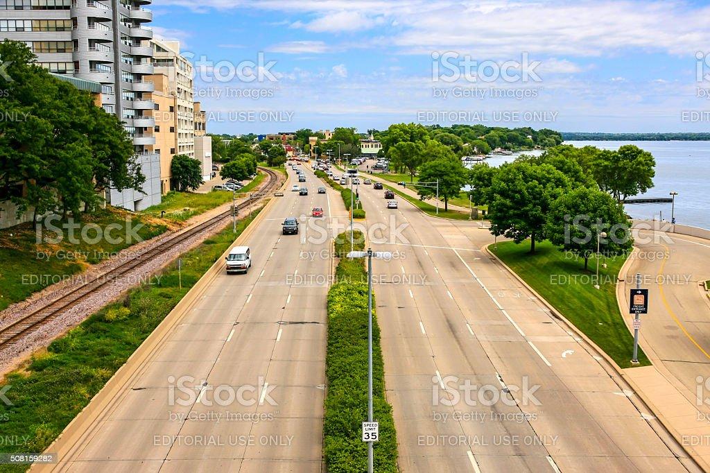 US-151 highway next to Lake Menona in Madison, Wisconsin stock photo