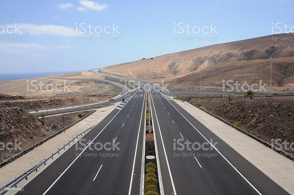 Highway on Fuerteventura, Canary Islands stock photo