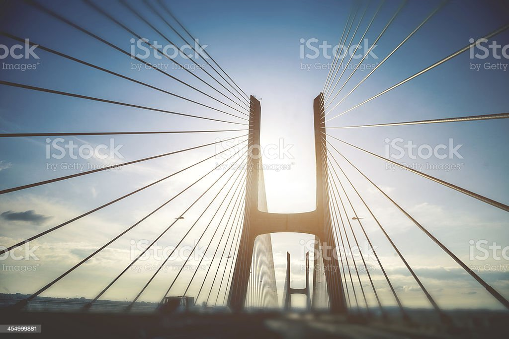 Highway on Vasco da Gama bridge in Lisbon, Europe stock photo