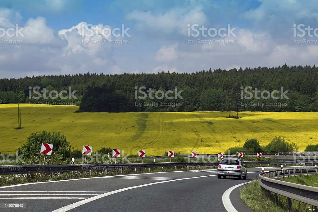 Highway on yellow field royalty-free stock photo