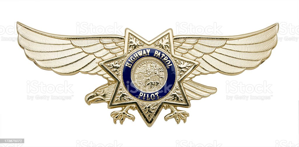 Highway Patrol Pilot's Badge stock photo