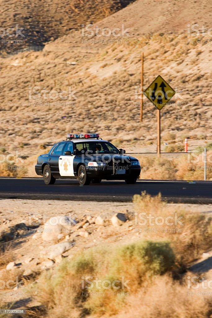 Highway patrol police car on the road royalty-free stock photo