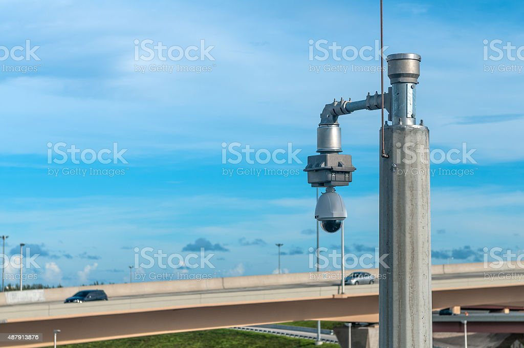 Highway protection camera stock photo