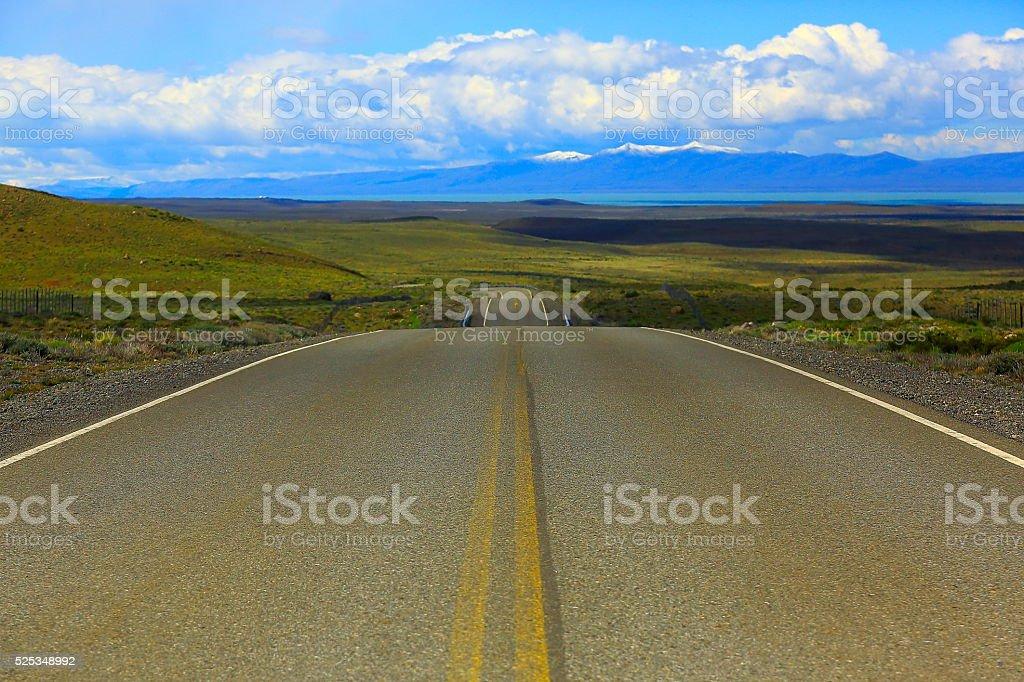 Highway Road curve to Chalten, Fitzroy, Patagonia Argentina, Los Glaciares stock photo