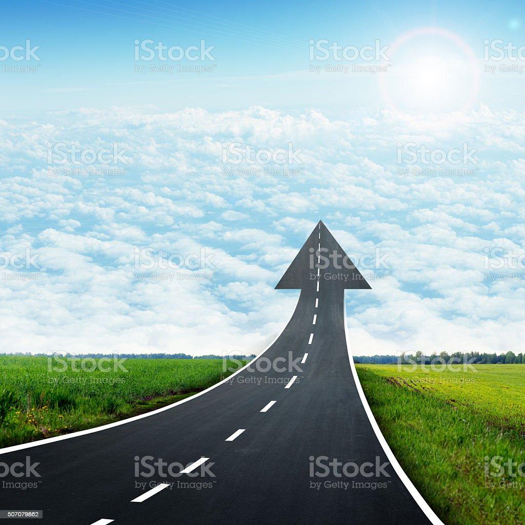 Highway road going up llike arrow stock photo