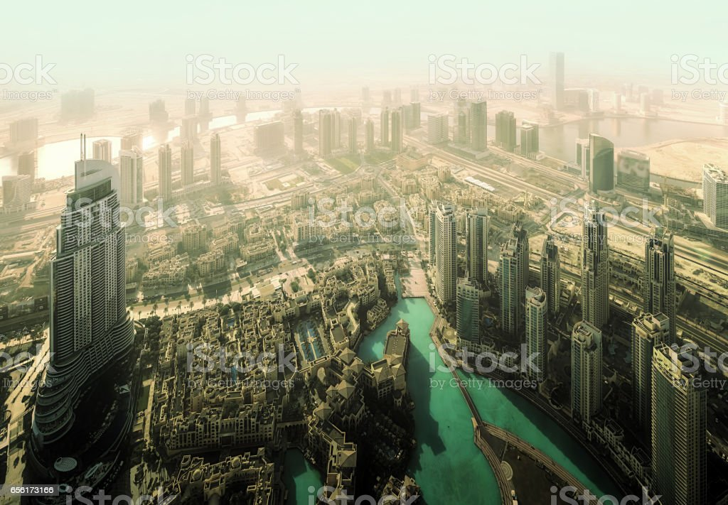 Highway road intersection in Downtown Burj Dubai stock photo