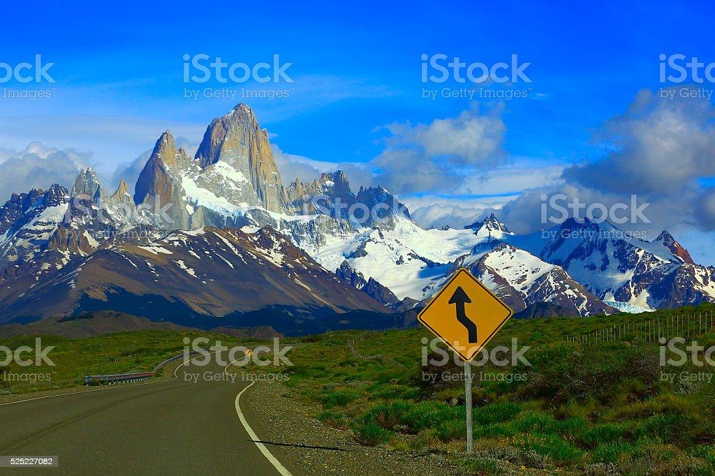 Highway Road into El Chalten, Fitzroy, Patagonia Argentina, Los Glaciares stock photo