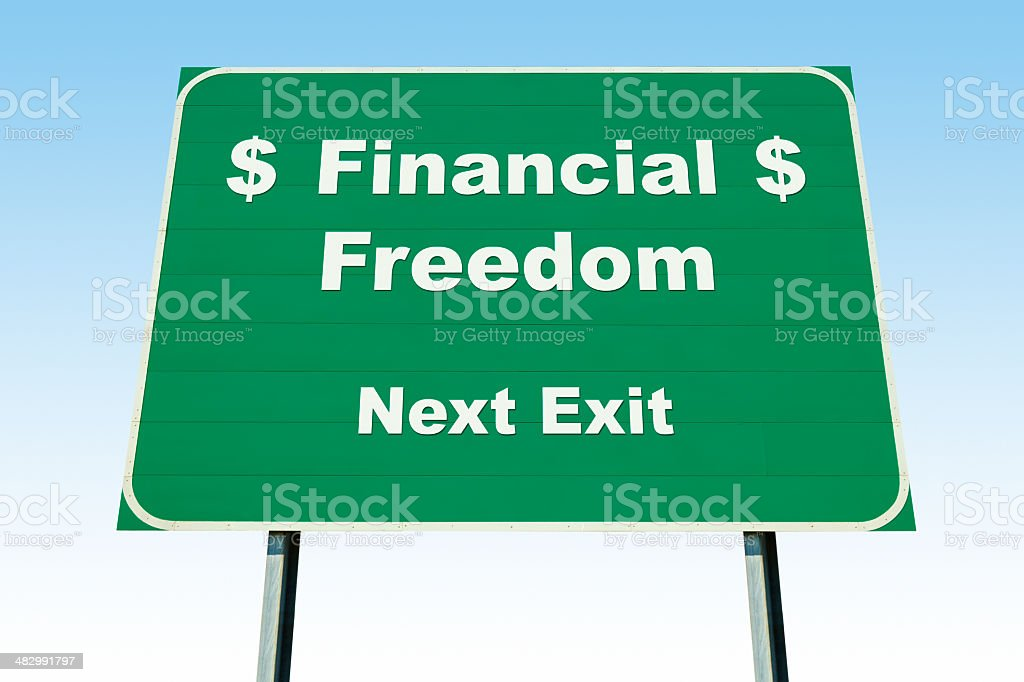 Highway Road Sign; Financial Freedom Next Exit royalty-free stock photo