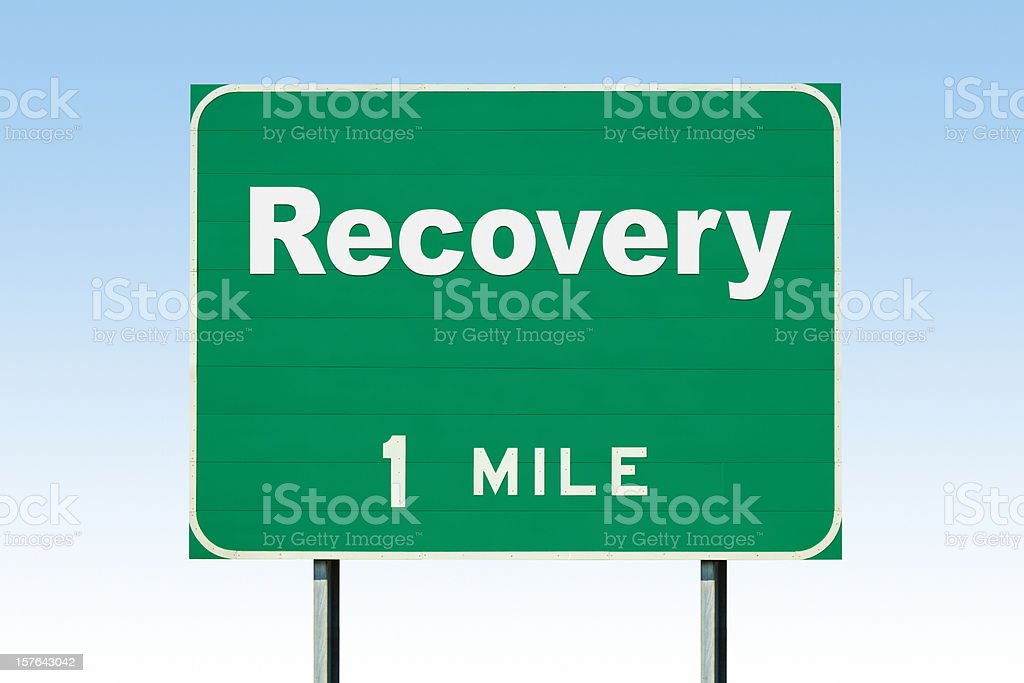 Highway Road Sign; Recovery One Mile stock photo