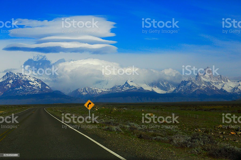 Highway Road sign to Chalten, Fitzroy, Patagonia Argentina, Glaciares stock photo