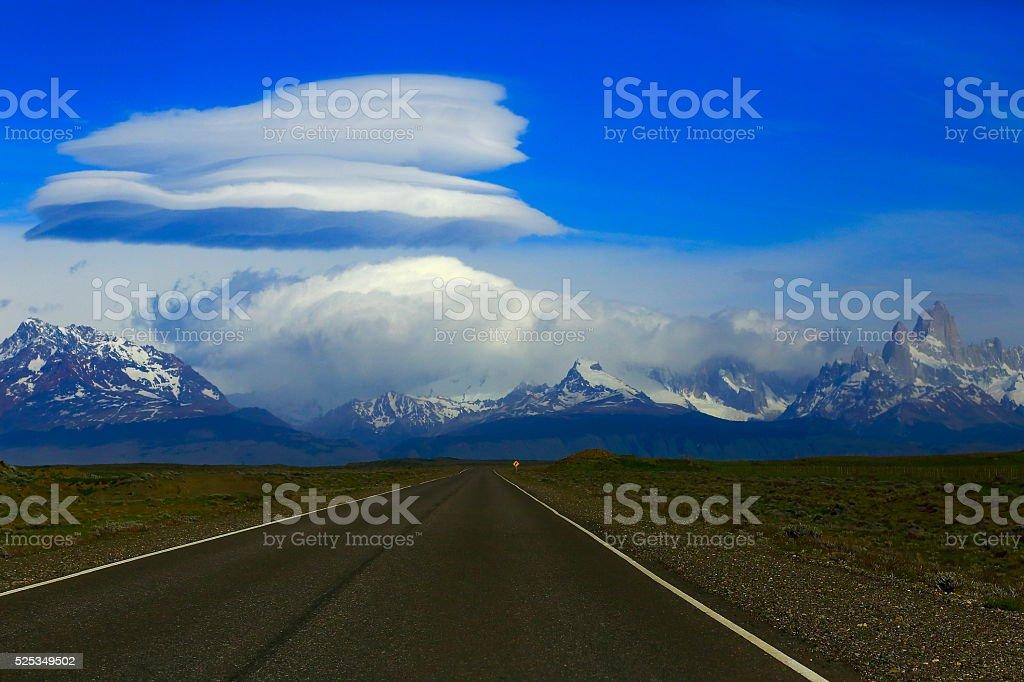 Highway Road to Chalten, Fitzroy, Patagonia Argentina, Los Glaciares stock photo