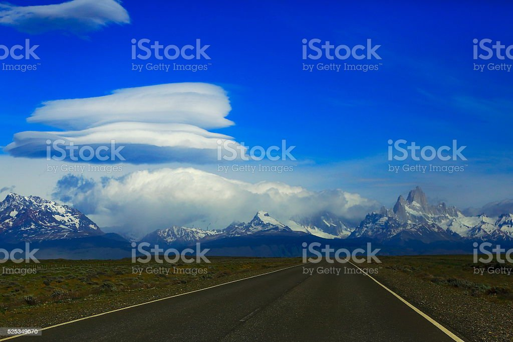 Highway Road to Chalten, Storm cloudscape, Fitzroy, Patagonia Argentina stock photo