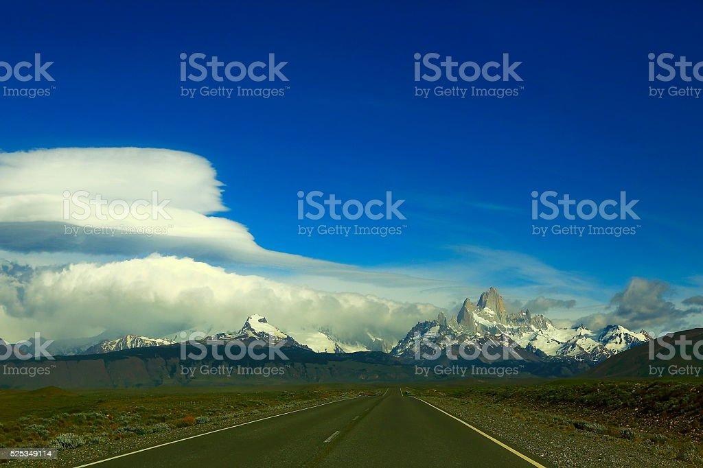 Highway Road to El Chalten, Fitzroy, Patagonia Argentina, Los Glaciares stock photo
