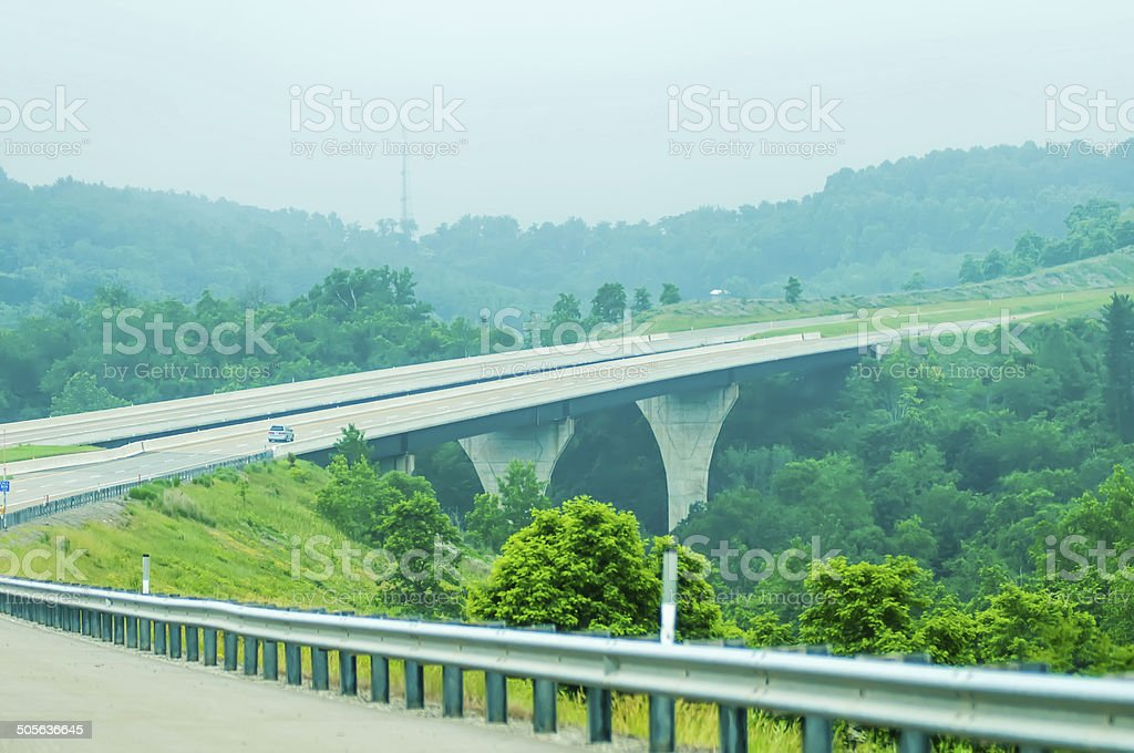 highway runs through mountains of west virginia stock photo