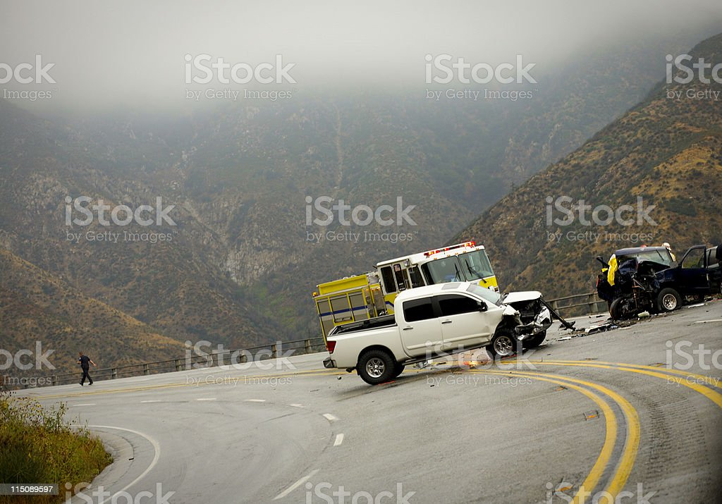 highway scene - auto accident stock photo