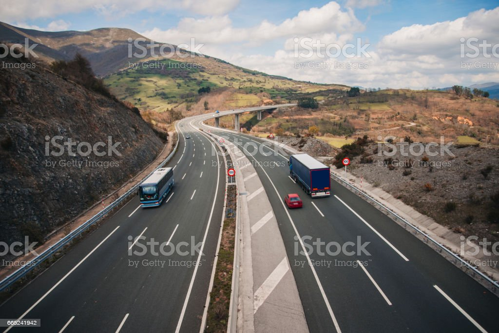 Highway scene stock photo