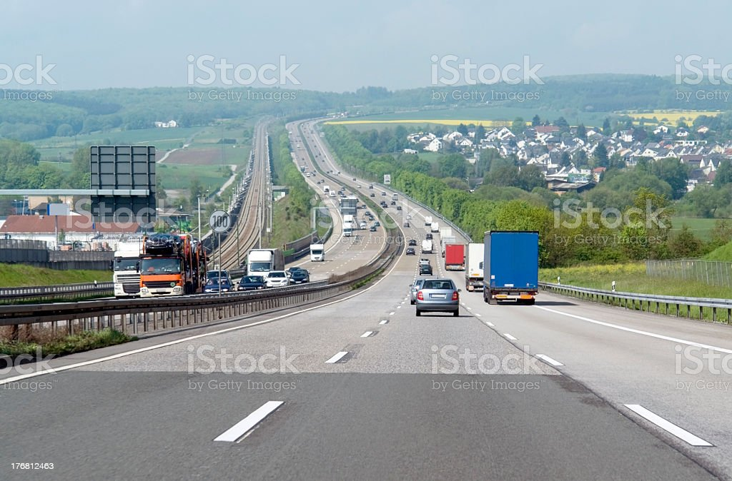 highway scenery in germany at summer time stock photo