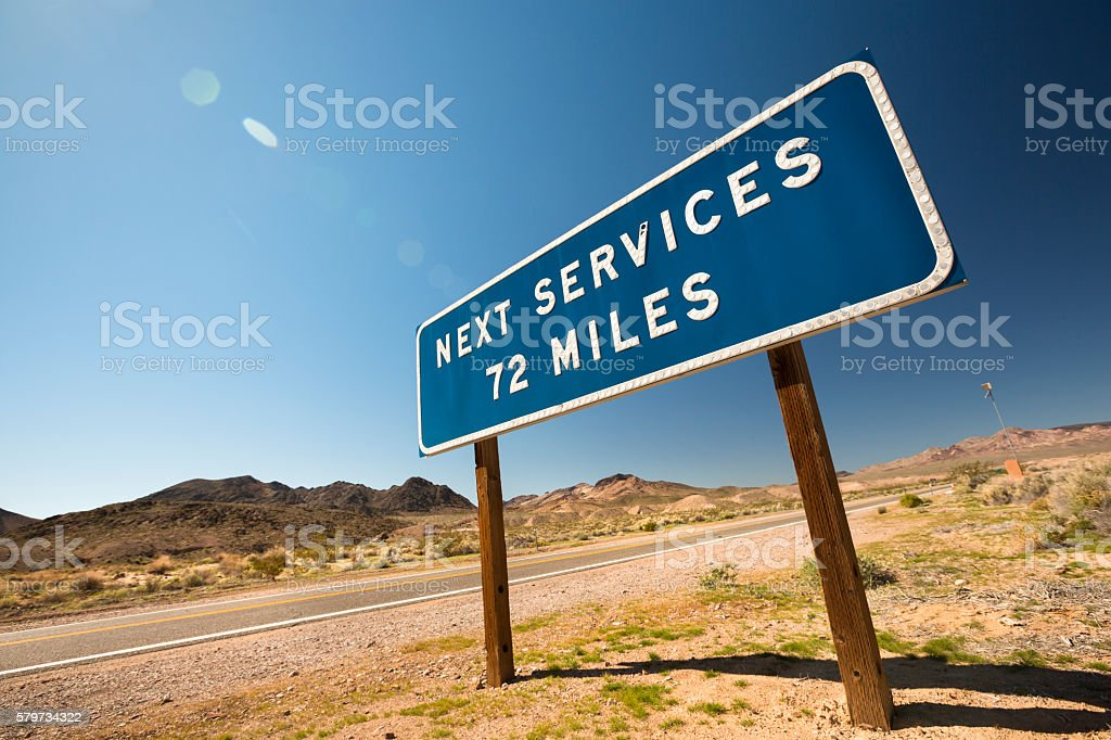 Highway service warning sign stock photo