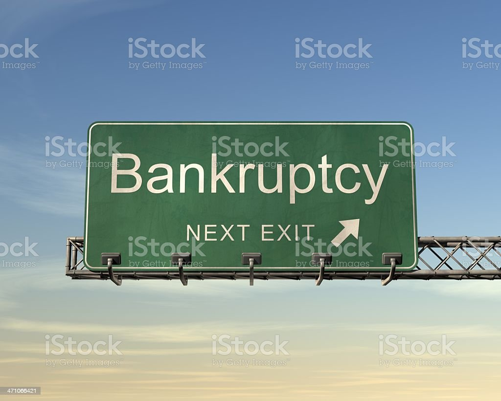 Highway sign exit showing next exit Bankruptcy stock photo